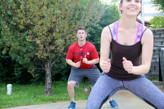 two people exercising outdoors